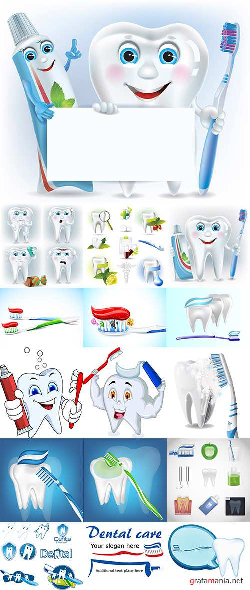 Stock: Funny tooth, tooth paste and tooth brush with blank