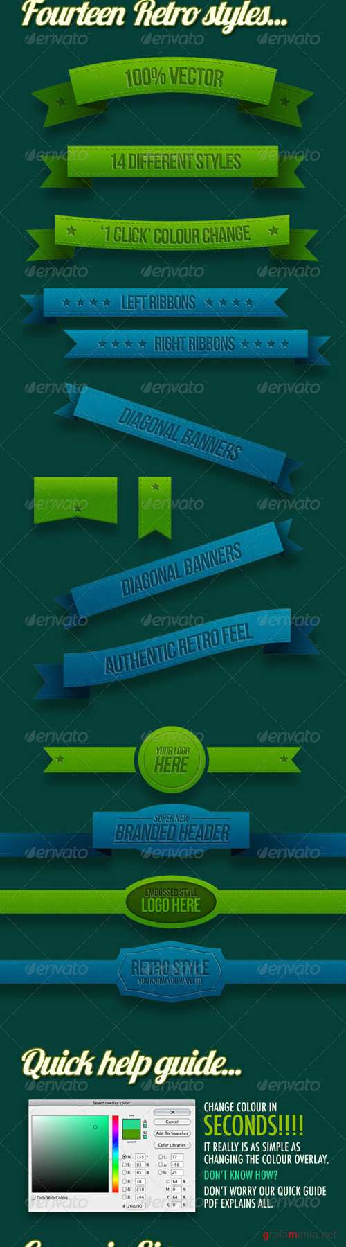 GraphicRiver - 14 Retro Ribbons & Banners 400734