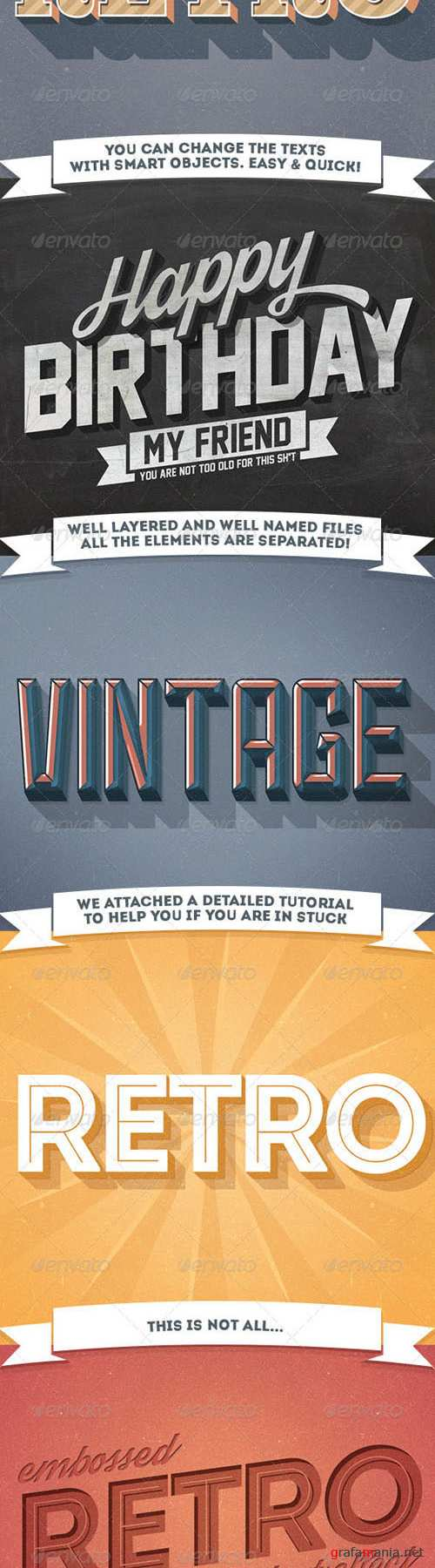 Graphicriver - 12 Various 3D Retro & Vintage Text Effects Pack 7332894
