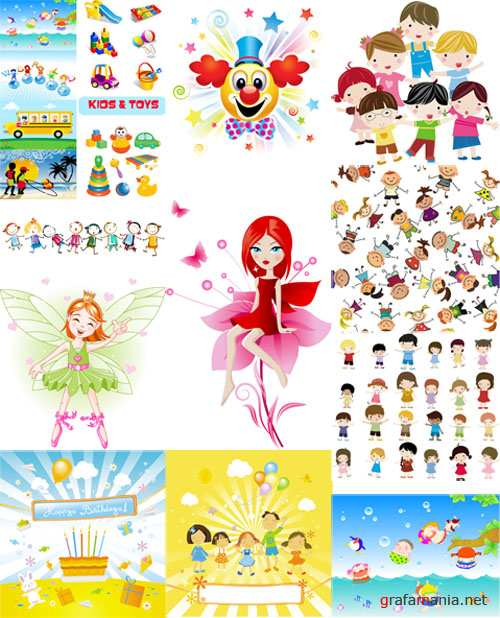 Toys and Kids Vector Set