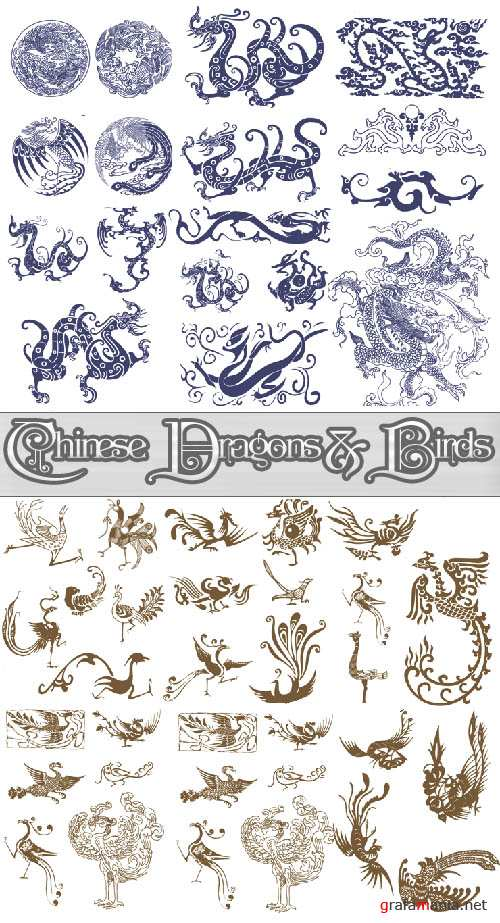 Chinese Dragons and Birds