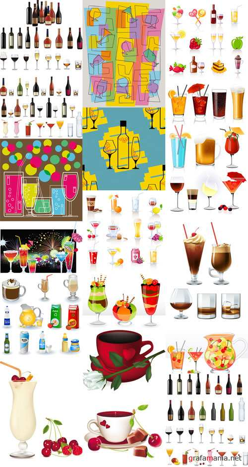 Drinks and Cocktails Vector Set
