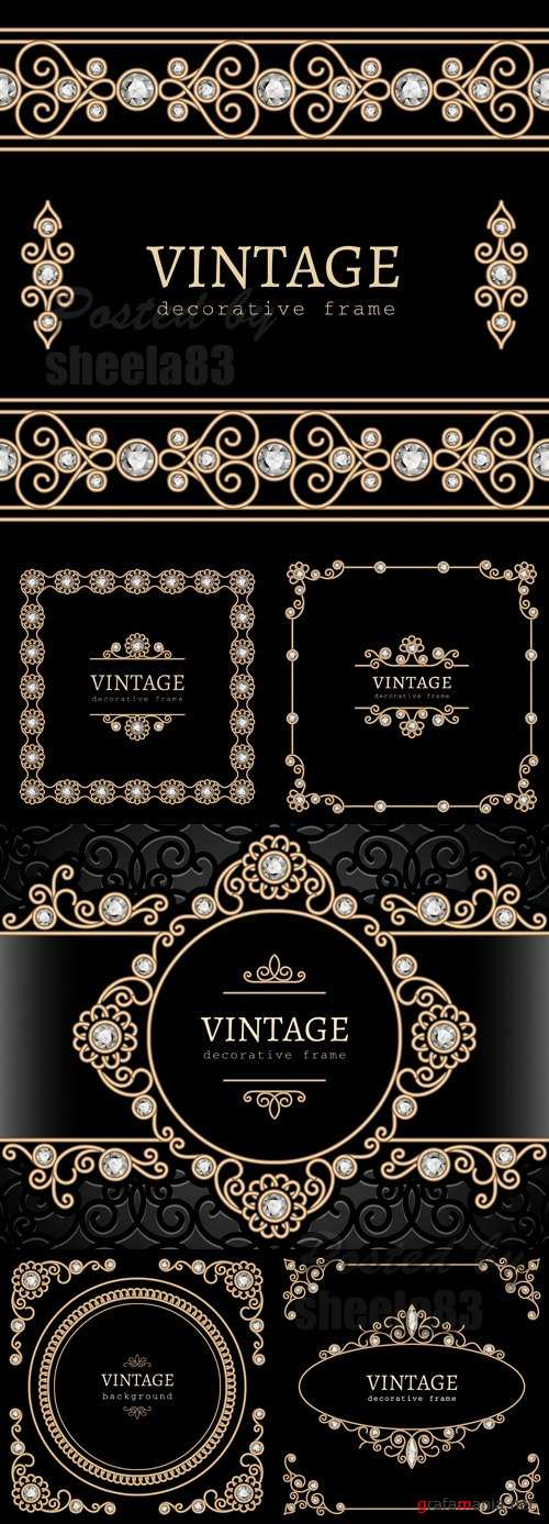 Vintage Backgrounds with Diamonds Vector