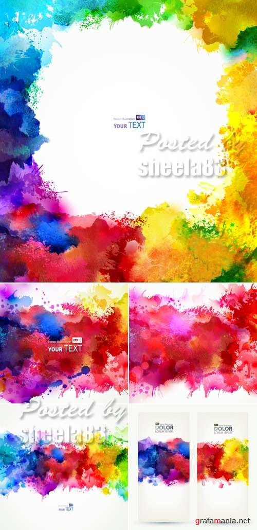 Watercolor Backgrounds Vector 2