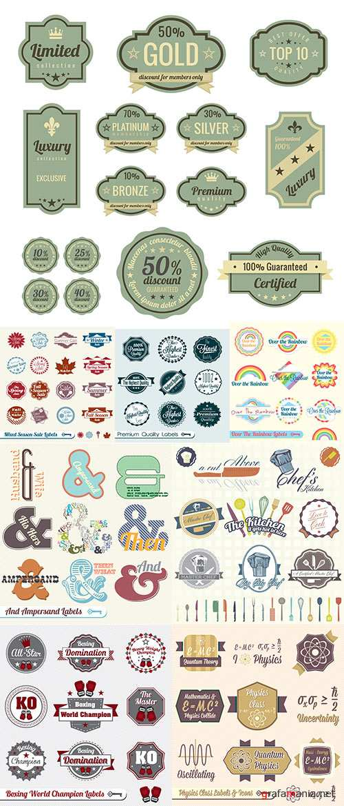 Stock: Vector Set Vintage Physics Class Labels and Icons
