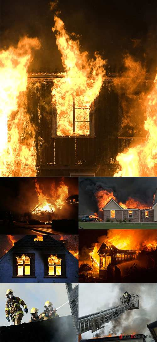 Stock Photo: House on fire