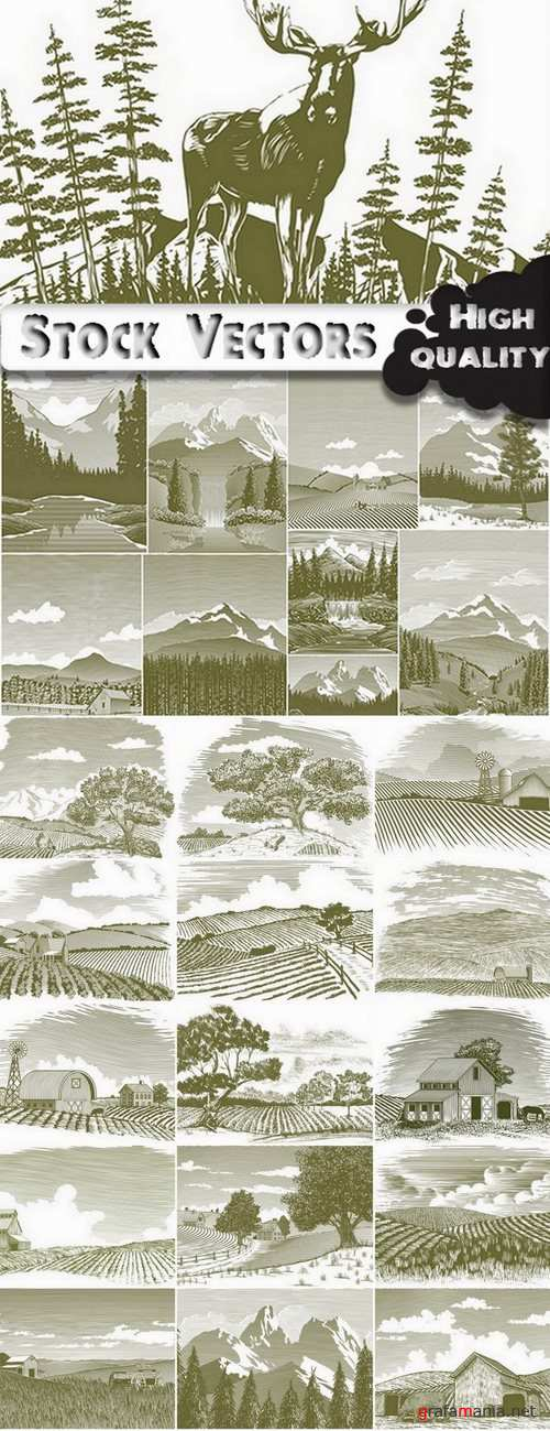 Landscape set #4 - 25 Eps