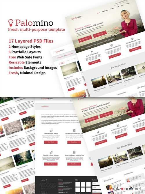 CreativeMarket - Website Template 17 PSDs