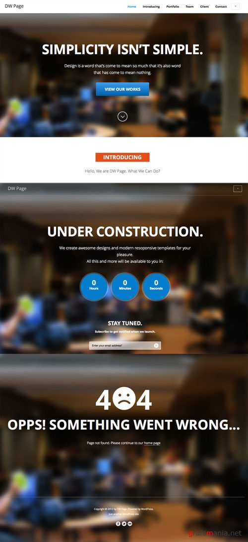 CreativeMarket - DW One Page Modern - HTML Template