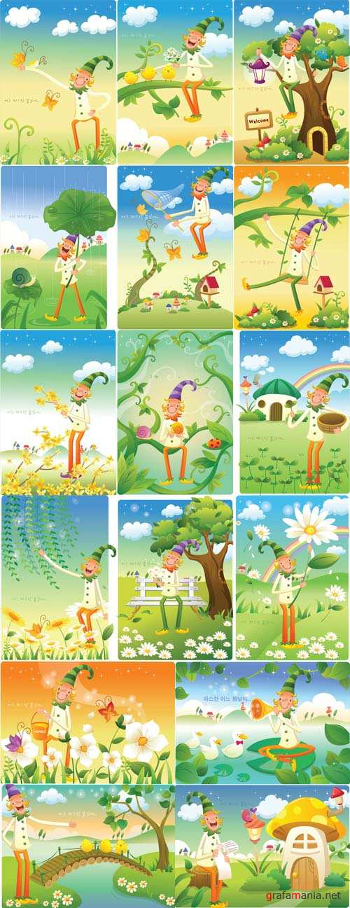 Fairy Children Vector Illustrations with Gnomes