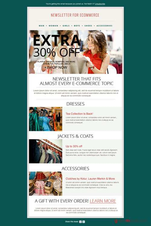 CreativeMarket - Fashion Ecommerce Newsletter PSD