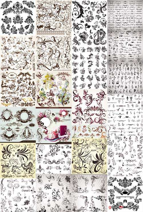 Vector Decorative Floral Elements Swirls and Dividers 2