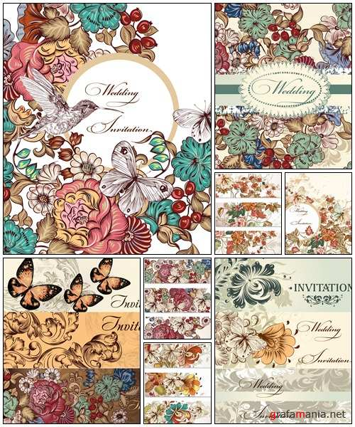 Collection of vector wedding cards in vintage style - vector stock