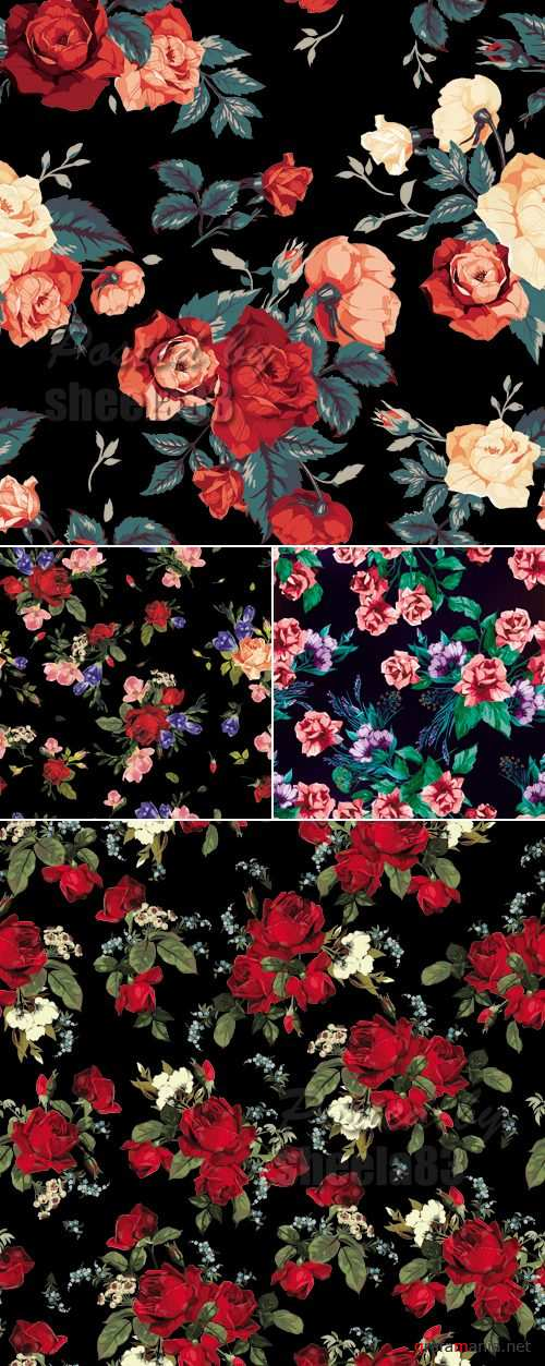 Roses Patterns Vector 2