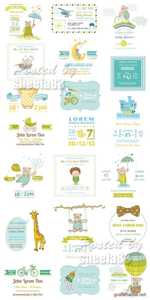 Baby Shower Arrival Cards Vector