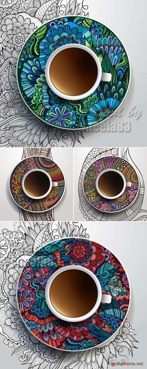 Coffee Cups with Ethnic Ornaments Vector