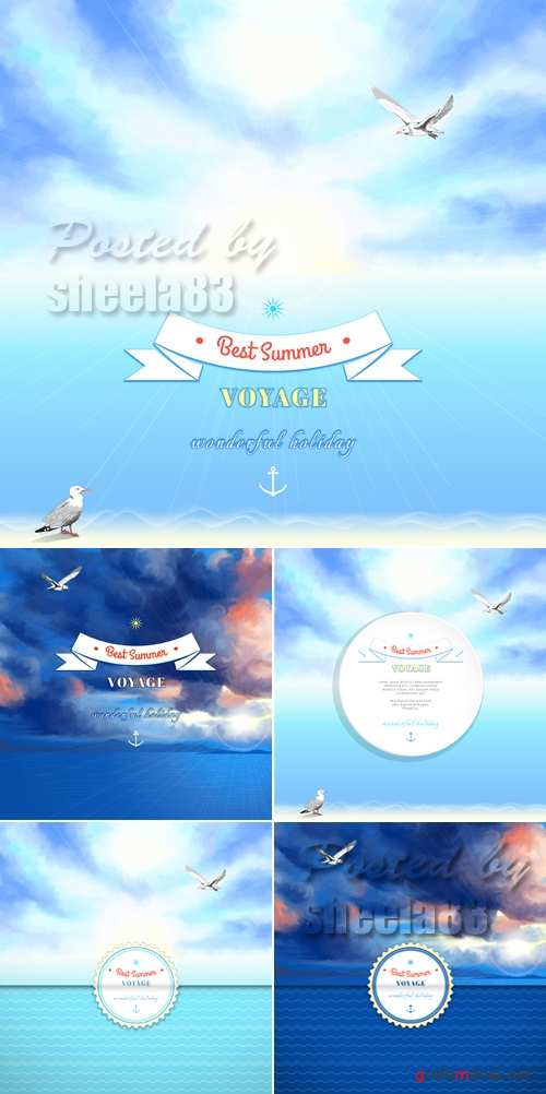 Summer Voyage Backgrounds Vector
