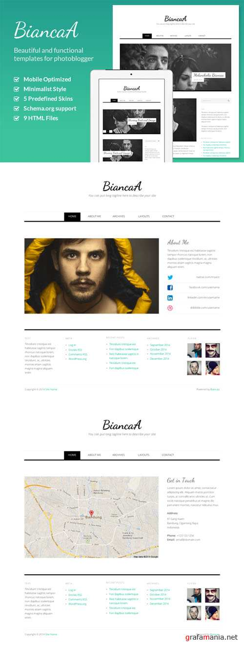 CreativeMarket - BiancaA - Responsive Photo Blog HTML 22029