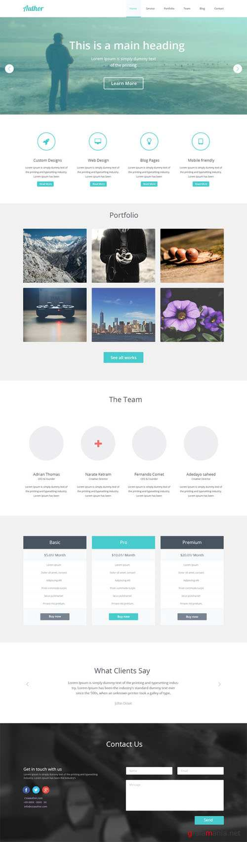 CreativeMarket - Author One Page PSD Template 21455
