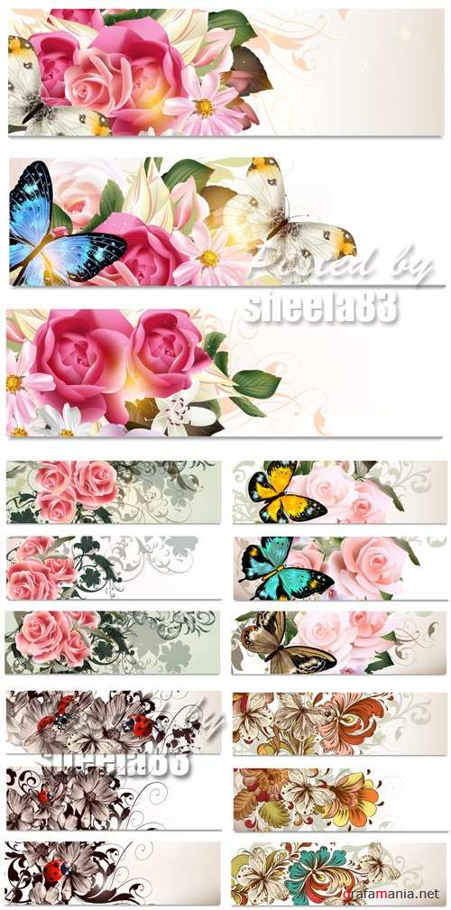 Paper Banners with Flowers Vector
