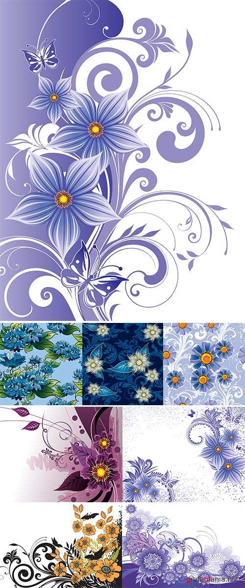 Stock: Floral background, seamless pattern - abstract flowers