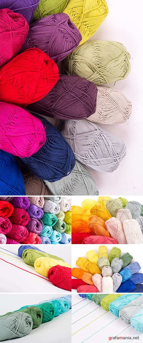Stock Photo: Colorful yarn in white background