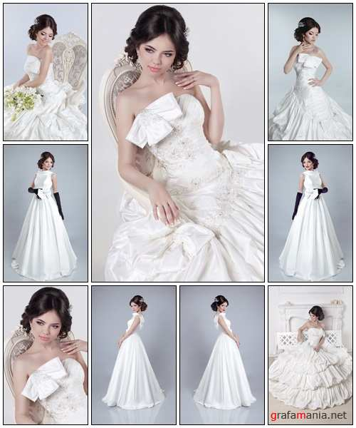 Beautiful charming bride in a luxurious dress - Stock Photo