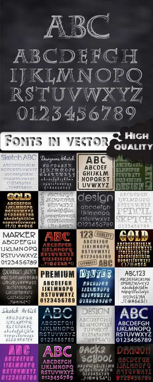 Different Fonts in vector - 25 Eps