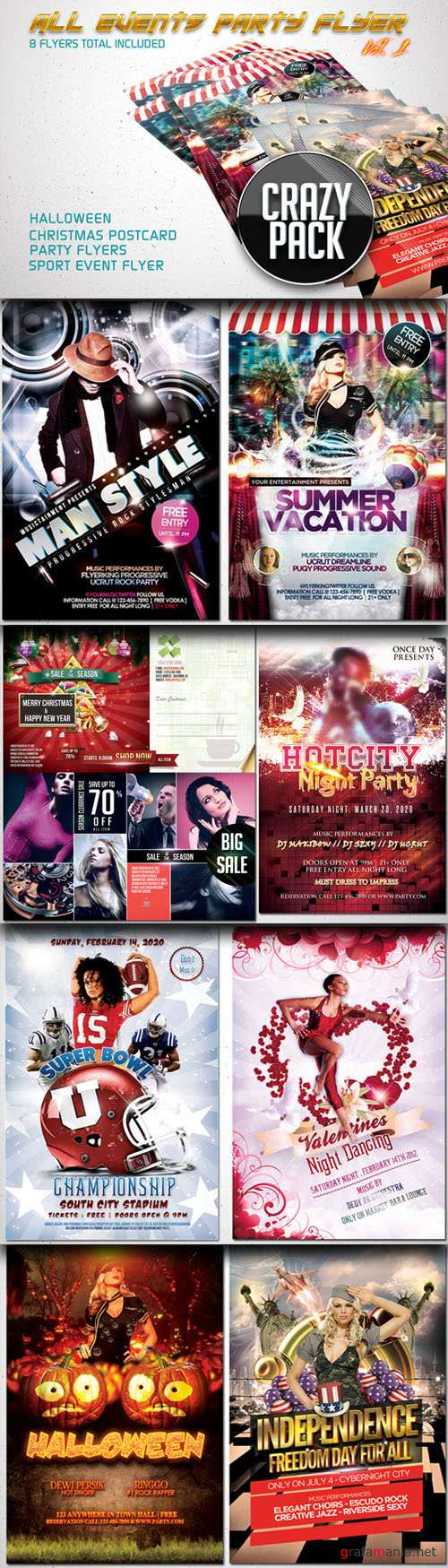 CreativeMarket - All Events Flyer Pack Vol.1 (8 in 1)