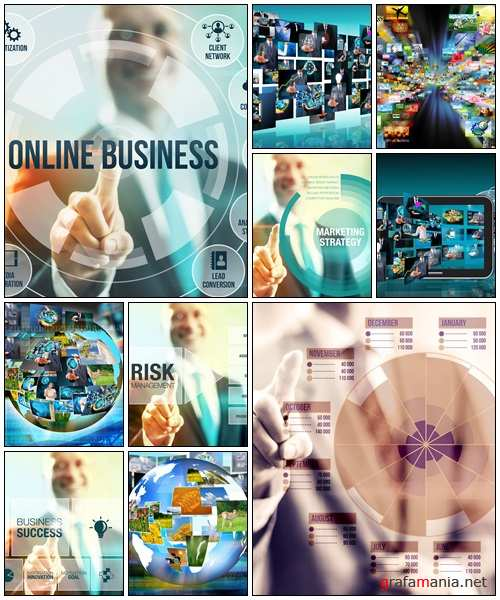 Business man selecting online business concept - Stock Photo