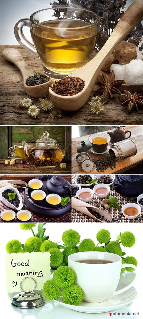 Stock Photo: Herbal tea in glass cup