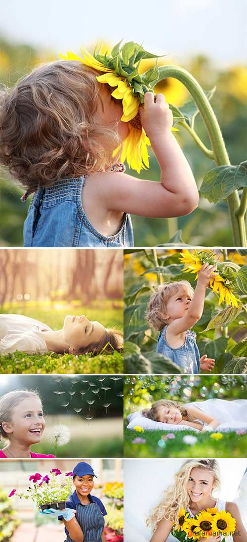 Stock Photo: People and flowers