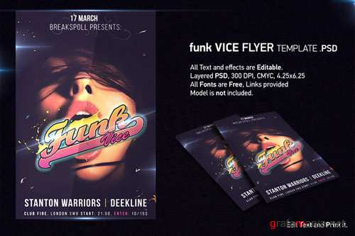 CreativeMarket - Funk Vice Club Flyer PSD Template