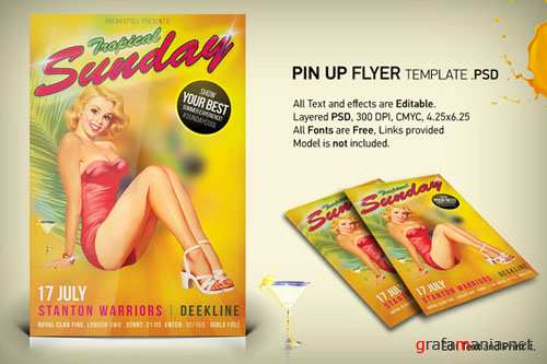 CreativeMarket - Tropical Summer Pin Up Flyer PSD Template