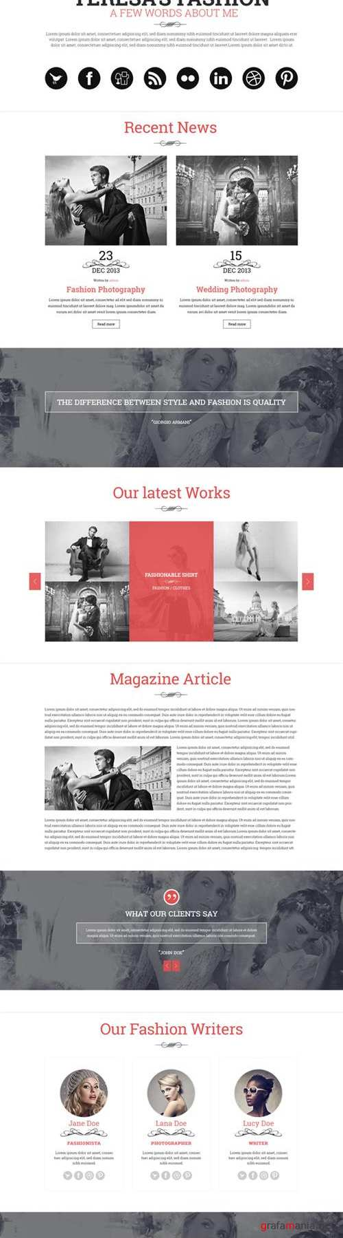 CreativeMarket - Teresa - A One Page PSD Template