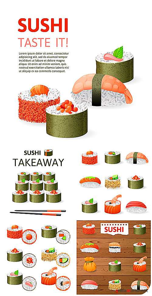 Суши, доставка суши / Sushi, sushi delivery - vector