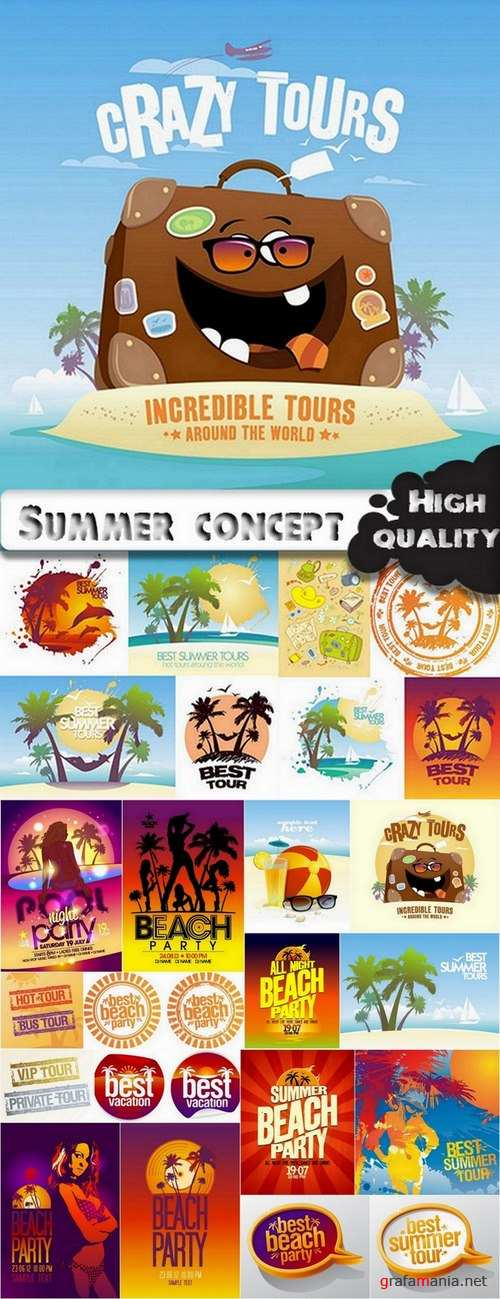 Summer concept and summer elements for flyers design in vector from stock - 25 Eps