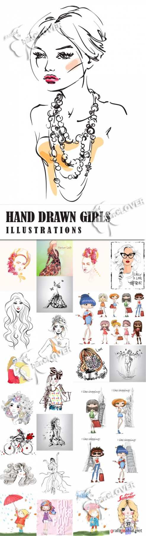 Hand drawn girl illustrations 0586