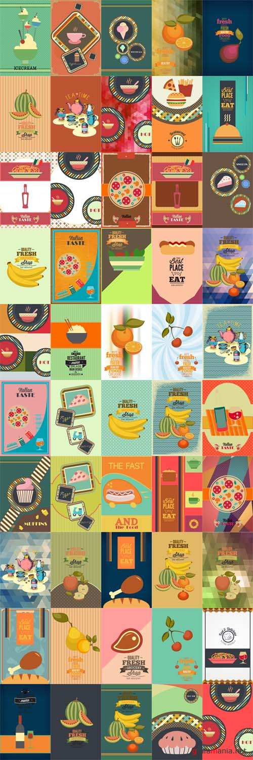 100 Food and Drink Vector Illustrations