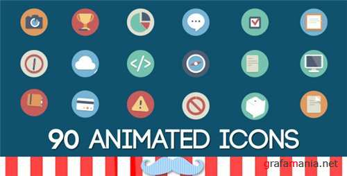 90 Animated Icons Pack - After Effects Project (Videohive)