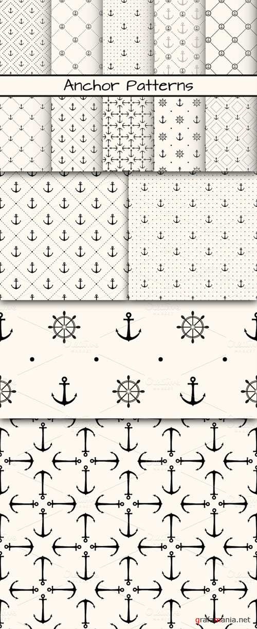 CreativeMarket - 10 Anchor monochrome patterns 16380