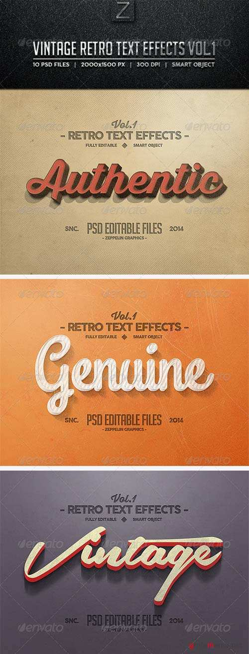 GraphicRiver Vintage Text Effects Vol.1