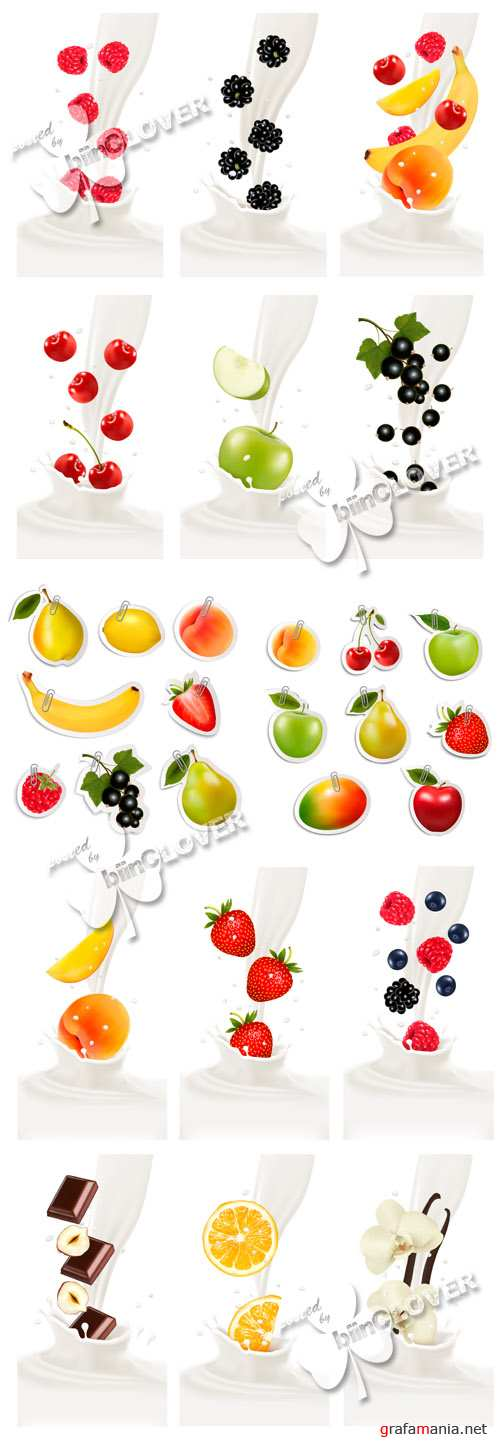 Fruit stickers and banners fresh fruits in milk splash 0599