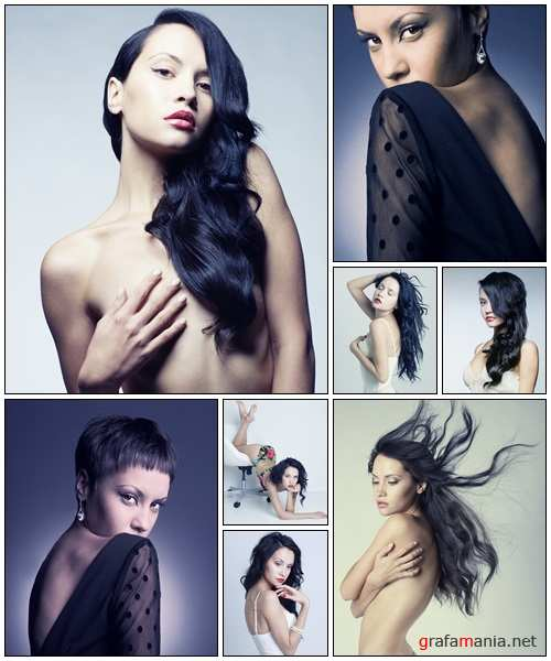 Beautiful lady with magnificent hair - stock photo