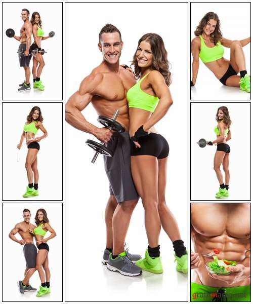 Beautiful young sporty couple - Stock Photo