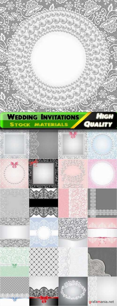 Backgrounds with patterns for template wedding Invitations - 25 Eps