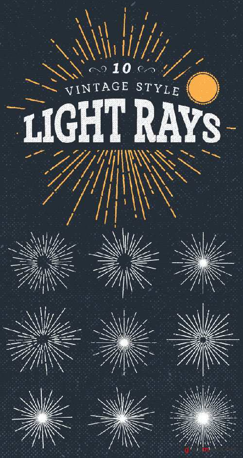 10 Vintage Light Ray Style Vector Illustrations