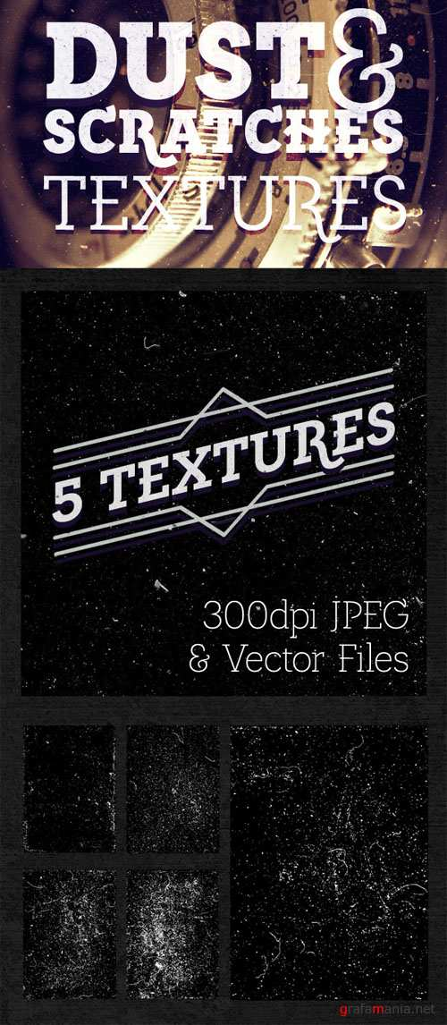 5 Dust & Scratches Textures for Photoshop & Illustrator