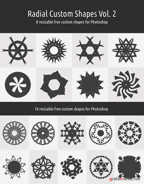 Radial Custom Photoshop Shapes Vol. 2