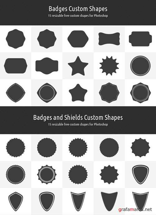 Badges and Shields Custom Shapes for Photoshop